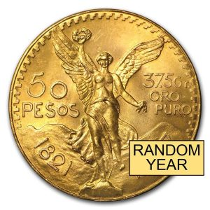 Mexico Gold 50 pesos coin random year