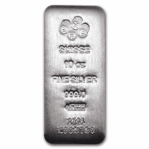10 oz silver bar pamp suisse serialized front